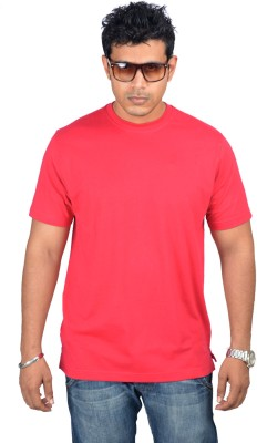 Woodside Solid Men's Round Neck Red T-Shirt