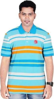 Poppini Striped Men's Polo Neck Multicolor T-Shirt
