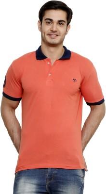 ominous Solid Men,s Polo Neck Orange T-Shirt