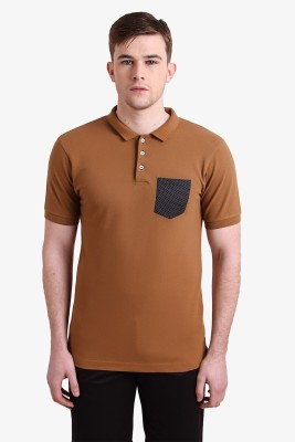 Alvin Kelly Solid Men's Polo Neck Brown T-Shirt