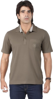 Valeta Solid Men's Polo Neck Brown T-Shirt