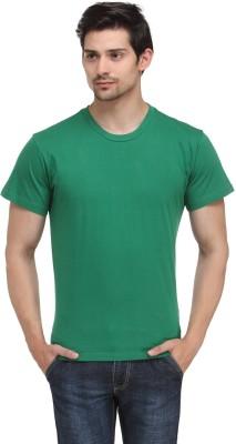 Happy Hippie Solid Men's Round Neck Green T-Shirt