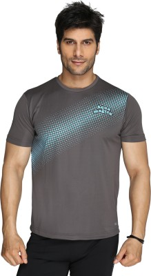 Aquamagica Printed Men's Round Neck Grey T-Shirt