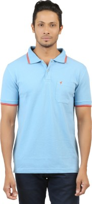 Menthol Solid, Embroidered Men's Polo Neck Light Blue T-Shirt