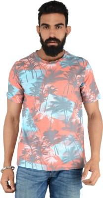 Download Apparel Floral Print Men,s Round Neck Orange T-Shirt
