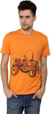 Rang Rage Animal Print Men's Round Neck Orange T-Shirt