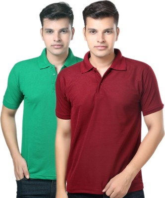 eSOUL Solid Men's Polo Neck Maroon, Green T-Shirt