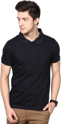 Inkovy Solid Men's Polo Dark Blue T-Shirt