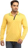 Stylistry Printed Men's Polo Neck Yellow...
