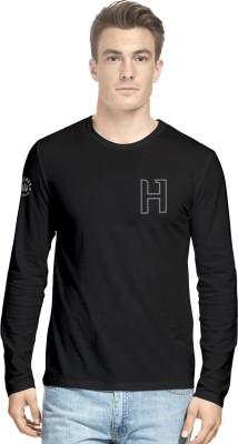 Hueman Printed Men's Round Neck Black T-Shirt