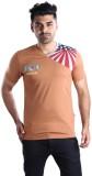 Mrtees Solid Men's V-neck Brown T-Shirt