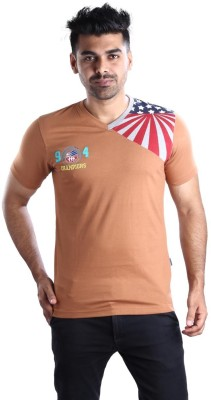 Mrtees Solid Men's V-neck Brown T-Shirt
