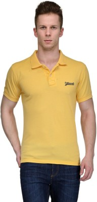 Tailor Craft Solid Men's Polo Neck Yellow T-Shirt