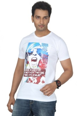 Bandarwalla Graphic Print Men,s Round Neck White T-Shirt