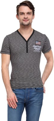 Wear Your Mind Striped Men's V-neck Black T-Shirt