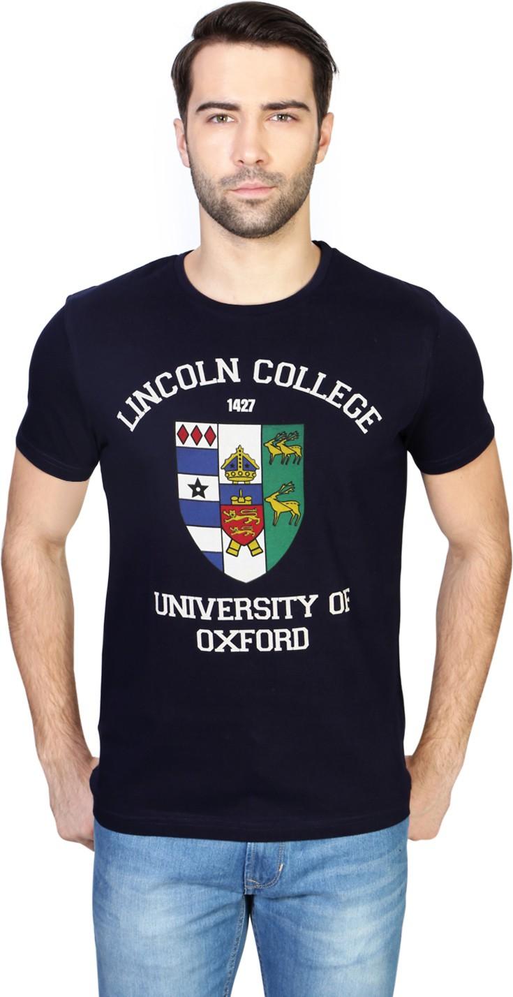 University of Oxford Printed Men's Round Neck Dark Blue T-Shirt