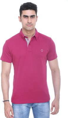 Colors and Blends Solid Men,s Polo Neck Pink T-Shirt