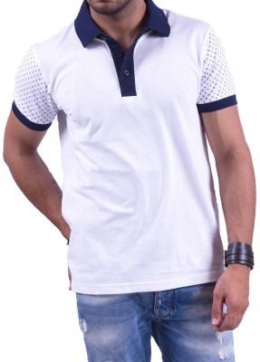 Cotton & Blends Printed Men's Polo Neck White T-Shirt