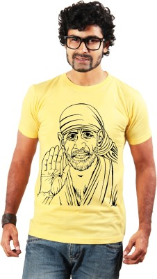 Shopping Monster Printed Men's Round Neck Yellow T-Shirt