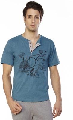Do U Speak Green Printed Men's Henley Blue T-Shirt