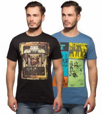 Yo Republic Printed Men's Round Neck Black, Light Blue T-Shirt