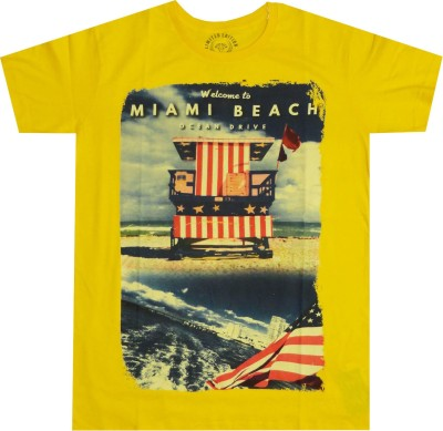 Imagine Nx Graphic Print Men's Round Neck Yellow T-Shirt