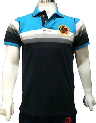 London Eye Striped Men,s Polo Light Blue, Black, Grey T-Shirt