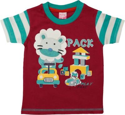 Myfaa Printed Baby Boy's Round Neck Maroon T-Shirt