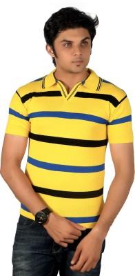 A33 Store Striped Men's Flap Collar Neck Yellow, Blue T-Shirt