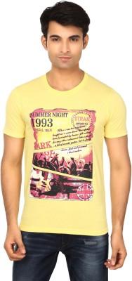 Strak Printed Men's Round Neck Yellow T-Shirt