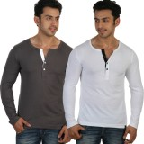 Rigo Solid Men's Henley Grey, White T-Sh...
