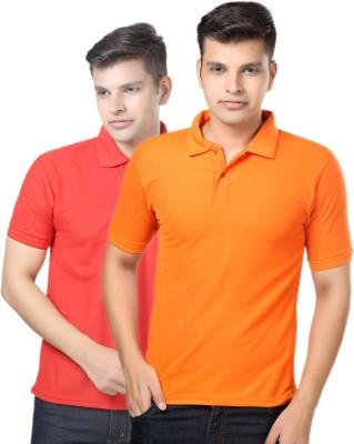 eSOUL Solid Men's Polo Neck Orange, Red T-Shirt