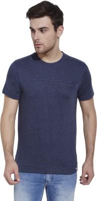 Slub By INMARK Solid Men's Round Neck Dark Blue T-Shirt