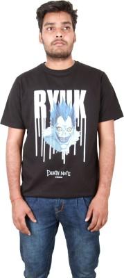 IINE Printed Men's Round Neck Black T-Shirt