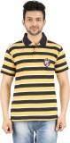 Danteez Striped Men's Polo Neck Yellow T...