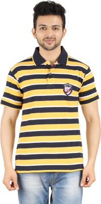 Danteez Striped Men's Polo Yellow T-Shirt