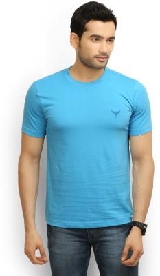 Police Solid Men's Round Neck Blue T-Shirt