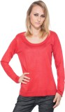CARLA Solid Women's Round Neck Red T-Shi...
