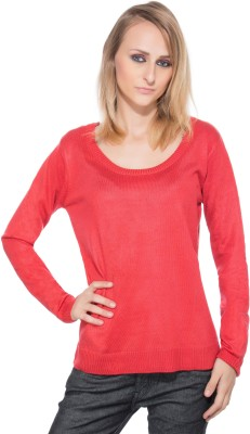 CARLA Solid Women,s Round Neck Red T-Shirt