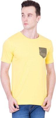 Ganzm Solid Men's Round Neck Yellow T-Shirt
