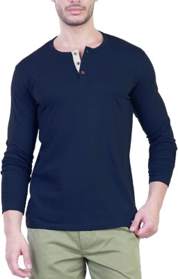 Unkonventional Solid Men's Henley Blue T-Shirt