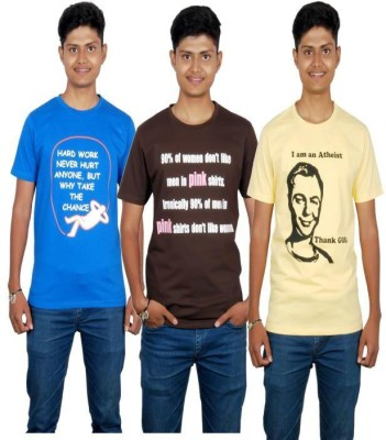 Molecules Printed Men's Round Neck Blue, Brown, Yellow T-Shirt