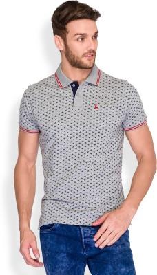 Parx Printed Men's Polo Neck Grey T-Shirt