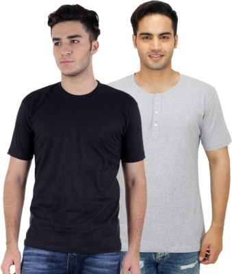 Rakshita Collection Solid Men's Round Neck Multicolor T-Shirt