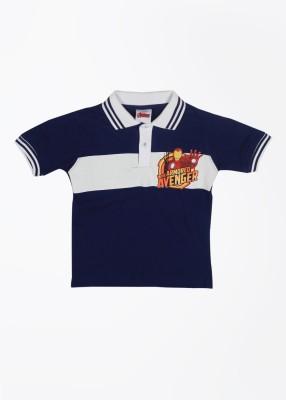 CHERISHKNITS Striped Boy's Polo Blue T-Shirts