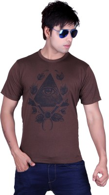 Lluminati Graphic Print Men's Round Neck Brown T-Shirt