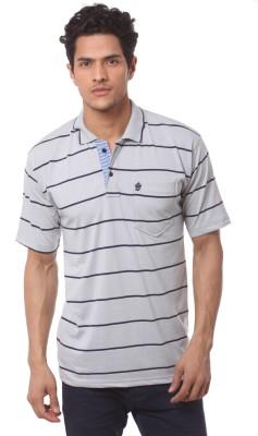Saadgi Striped Men's Polo Neck Grey T-Shirt
