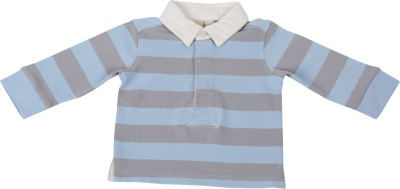 Toffee Moon Striped Baby Boy's Polo Neck Grey, Blue T-Shirt