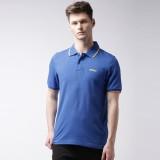 2Go Solid Men's Polo Neck Blue T-Shirt