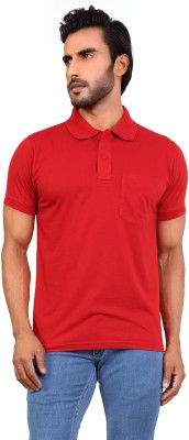 Awack Solid Men's Polo Neck Red T-Shirt